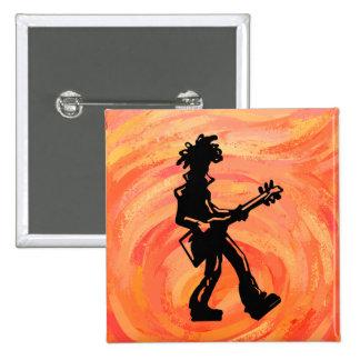 New York Boogie Nights Guitar Orange Pinback Buttons