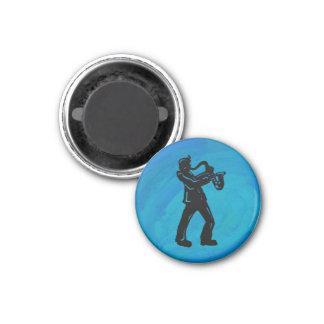 New York Boogie Nights Saxophone Blue 3 Cm Round Magnet
