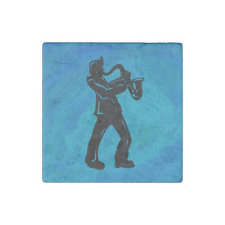 New York Boogie Nights Saxophone Blue Stone Magnet
