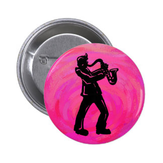 New York Boogie Nights Saxophone Hot Pink Pinback Button