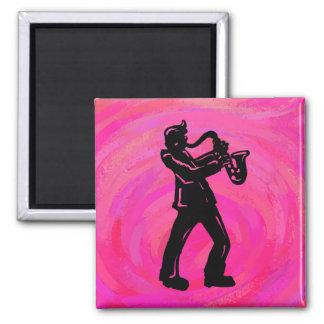 New York Boogie Nights Saxophone Hot Pink Square Magnet