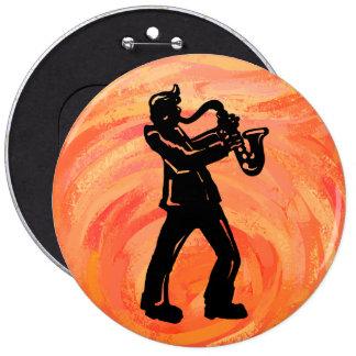 New York Boogie Nights Saxophone Orange Pinback Button