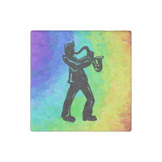 New York Boogie Nights Saxophone Rainbow Stone Magnet