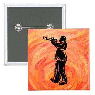 New York Boogie Nights Trumpet Orange Pinback Buttons