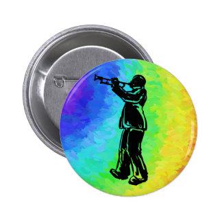 New York Boogie Nights Trumpet Rainbow Button