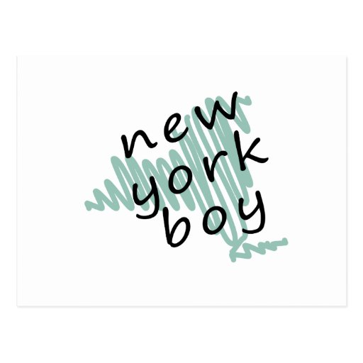 New York Boy on Child's New York Map Drawing Postcard