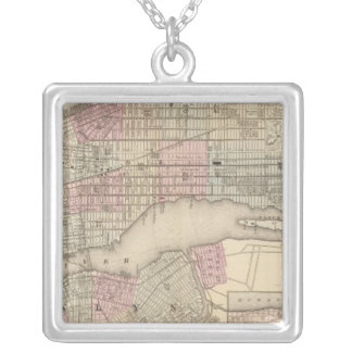 New York, Brooklyn 3 Square Pendant Necklace