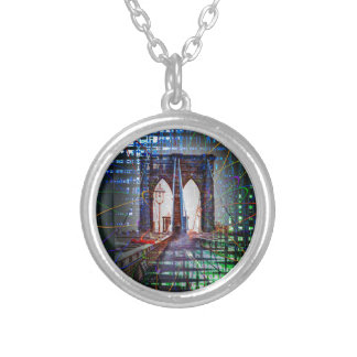 New York - Brooklyn Bridge Round Pendant Necklace