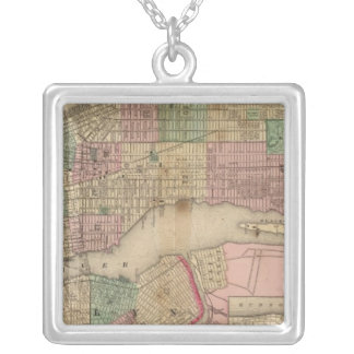 New York, Brooklyn Map by Mitchell Square Pendant Necklace