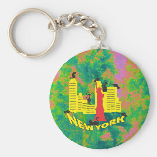 NEW YORK cat Basic Round Button Key Ring