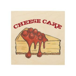 New York Cherry Cheese Cake Cheesecake Food Bakery Wood Print