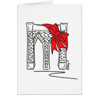 New York Christmas Brooklyn Bridge w/ Bow NYC Card
