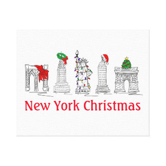 New York Christmas NYC Landmarks Holiday Wall Art