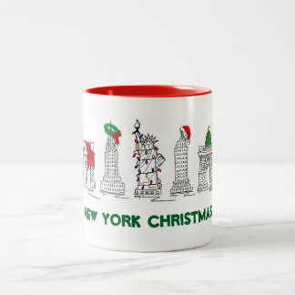 New York Christmas NYC Landmarks Holiday Xmas Mug