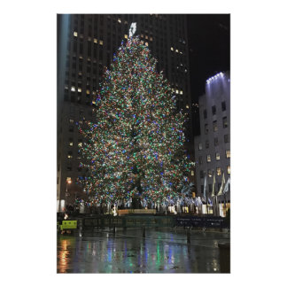 New York Christmas NYC Rockefeller Center Tree Poster