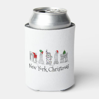 New York Christmas NYC Xmas Holiday Landmarks Gift Can Cooler