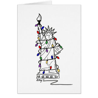 New York Christmas Xmas Statue of Liberty NYC Card