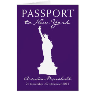 New York City 40th Birthday Passport Note Card
