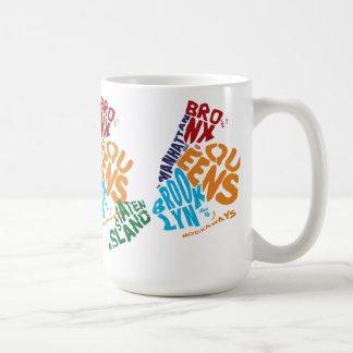 New York City 5 Boroughs Calligram Map Basic White Mug