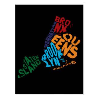 New York City 5 Boroughs Calligram Map Postcard
