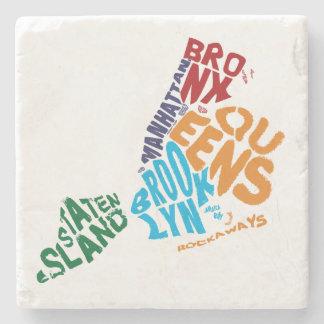 New York City 5 Boroughs Calligram Map Stone Beverage Coaster
