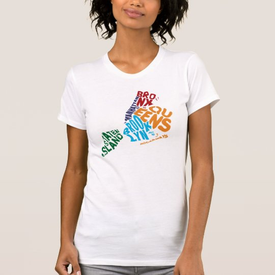 New York City 5 Boroughs Calligram Map T-Shirt
