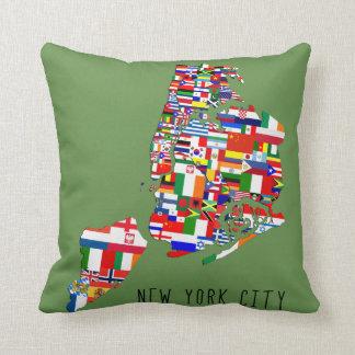 New York City Ancestry Flags Pillow Cushion