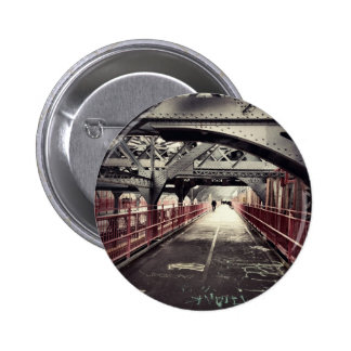 New York City Architecture - Williamsburg Bridge 6 Cm Round Badge