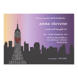 New York City at Night Bachelorette Party 4.5x6.25 Paper Invitation Card