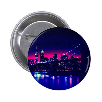 New York City at Night 6 Cm Round Badge
