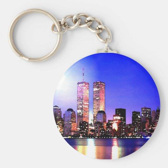 New York City at Night Basic Round Button Key Ring