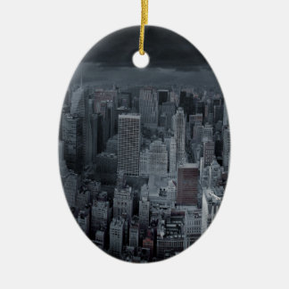 New York City at Night Ceramic Oval Decoration