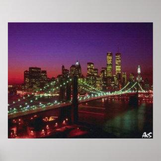 new york city at night poster