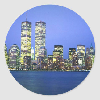 New York City at Night Round Sticker