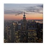 New York City at Night Small Square Tile