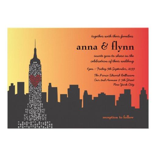 New York City at Night Wedding Invitation