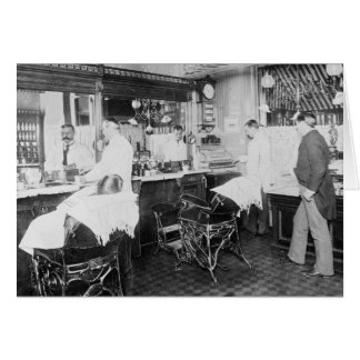 New York City Barber Shop, 1895 Card