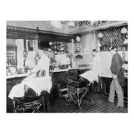 New York City Barber Shop, 1895 Postcard