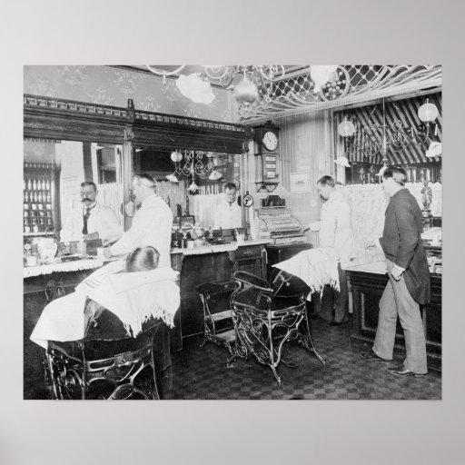 New York City Barber Shop, 1895 Print