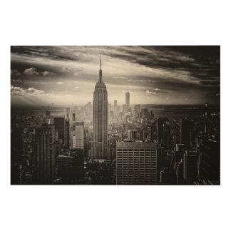 New York City Black and White Skyline Wood Print