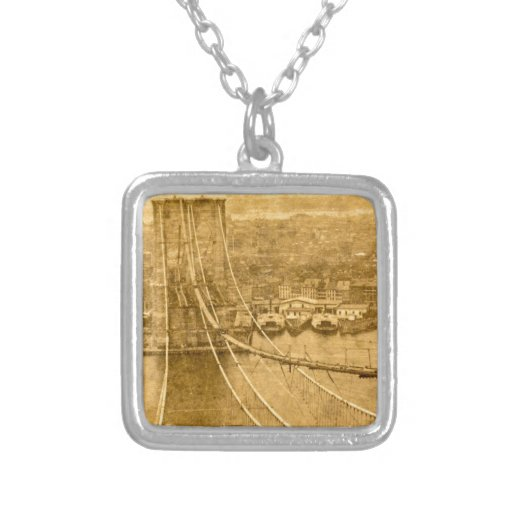 New York City Brooklyn Bridge Construction 1870s Personalized Necklace