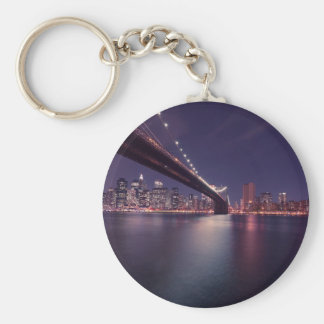 New York City Brooklyn Bridge Night Skyline Key Ring