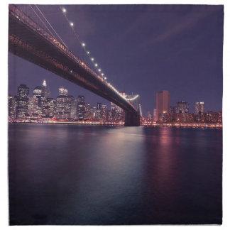 New York City Brooklyn Bridge Night Skyline Napkin