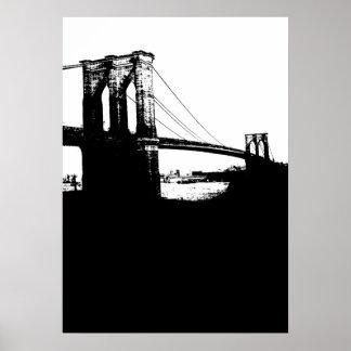 New York City Brooklyn Bridge Silhouette Pop Art Poster