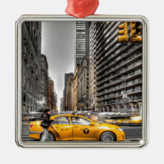 New York City cabs, Central Park Silver-Colored Square Decoration