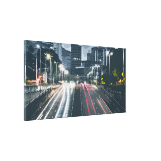 New York City, Car Lights in Motion Canvas