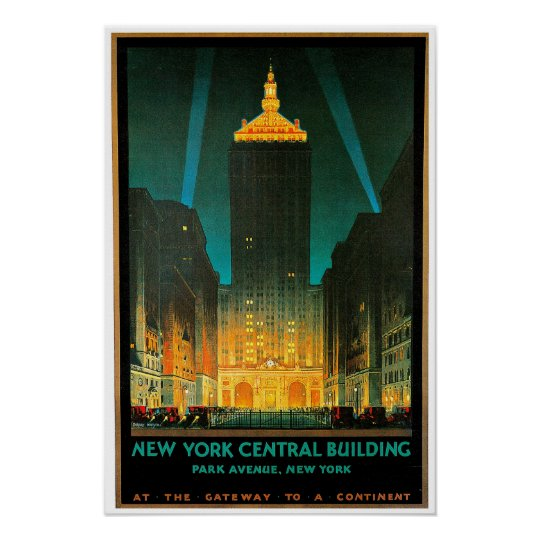 New York City Central Building Travel Art Poster