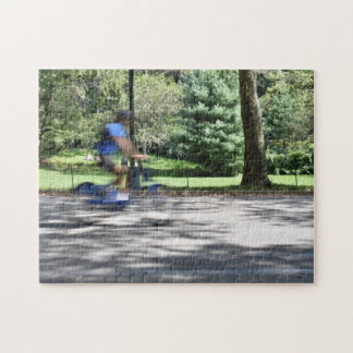 New York City Central Park Cyclist Photography NYC Jigsaw Puzzle