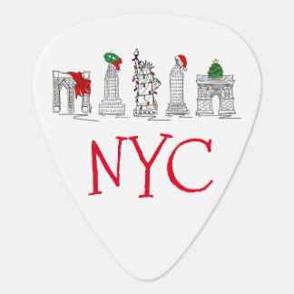 New York City Christmas NYC Holiday Landmarks Guitar Pick