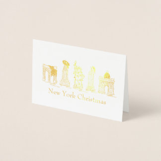 New York City Christmas NYC Holiday Landmarks Xmas Foil Card